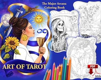 Tarot Coloring Book, printable PDF Major Arcana coloring book Art of Tarot + Cards