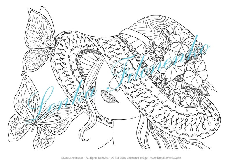 Coloring Page For Adults Arts Butterfly Girl Etsyrhetsy: Coloring Pages Butterfly Girl At Baymontmadison.com