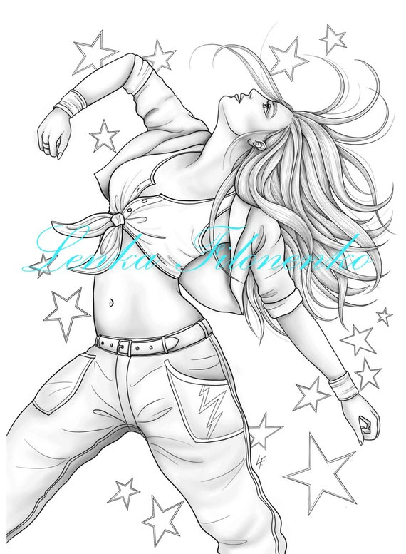 Coloring Page For Adults Modern Dancer Grey Scale Coloring Etsy