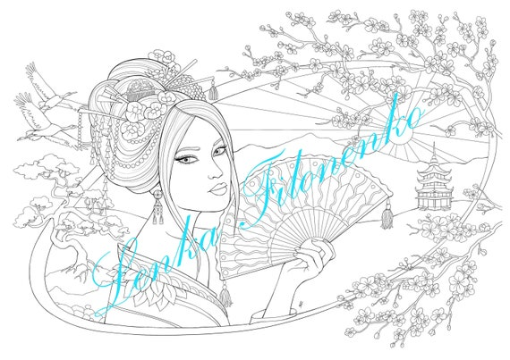 Japan - Coloring Pages for Adults   403x570