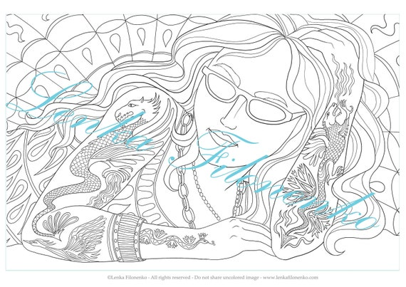 Arts Coloring Page Tattoo Girl Pdf Download And Print Etsy