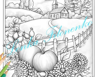 Autumn Fall Coloring page for adults GREY SCALE, PDF download and print