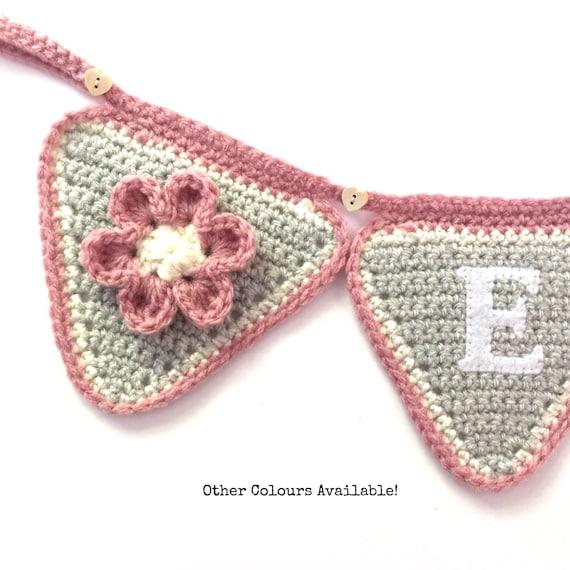 Nursery Bunting - Banner - Flower - Name Bunting - New Baby - Nursery Decoration - Personalised Gift - Childrens Room - Keepsake Gift