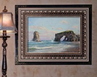 Mediterranean sea Beach wall art Tidal bore Nautical wall decor Ocean art Coastal decor Landscape painting Ocean decor Beach decor
