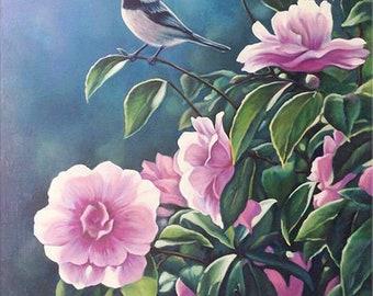 Pink flower painting etsy pink flower painting oil artwork wild flowers art flower blossom pink rose wall decormorning forest paintinggift for heroil landscape mightylinksfo