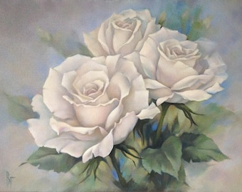 Flowers oil painting etsy white rose bouquet rose oil painting floral wall art gift for woman bithday giftflowers oil paintingvalentines day giftrose on canvas mightylinksfo