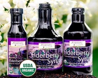 Certified Organic Black Elderberry Syrup by Elderberry Queen-Pure Natural Immune Support Liquid Herbal Supplement
