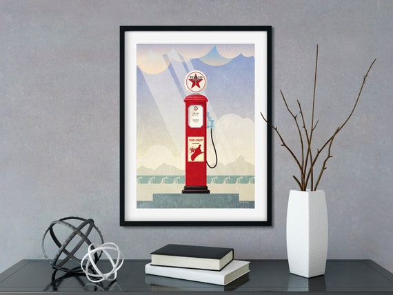 Antique Gas Pumps Art Print Home Decor Wall Art Poster
