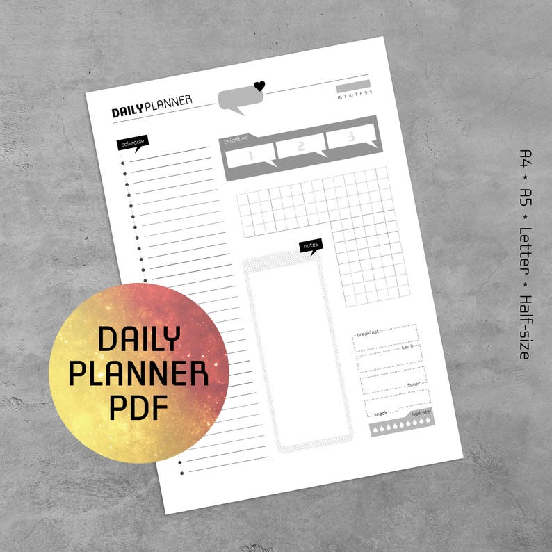Daily Planner Printable PDF Bullet Journal Template Planner | Etsy
