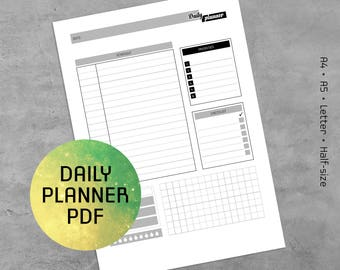 Daily Planner Printable PDF, Daily Planner Notes, Logs, Templates 2018, Daily To Do List, A4, A5, Letter, Half-size