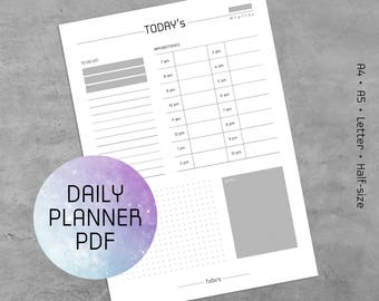 Log Pages 2018 - Daily Planner Printable PDF, Template, Planner Pages, Daily To Do List, A4, A5, Letter, Half-size