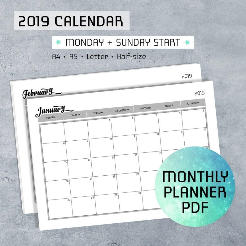 picture regarding Planner Pdf named Regular Planner Printable PDF Notes, 2019 Calendar, Monday Sunday Start out, Routine Template, Log Webpages, A4, A5, Letter, 50 percent-dimension