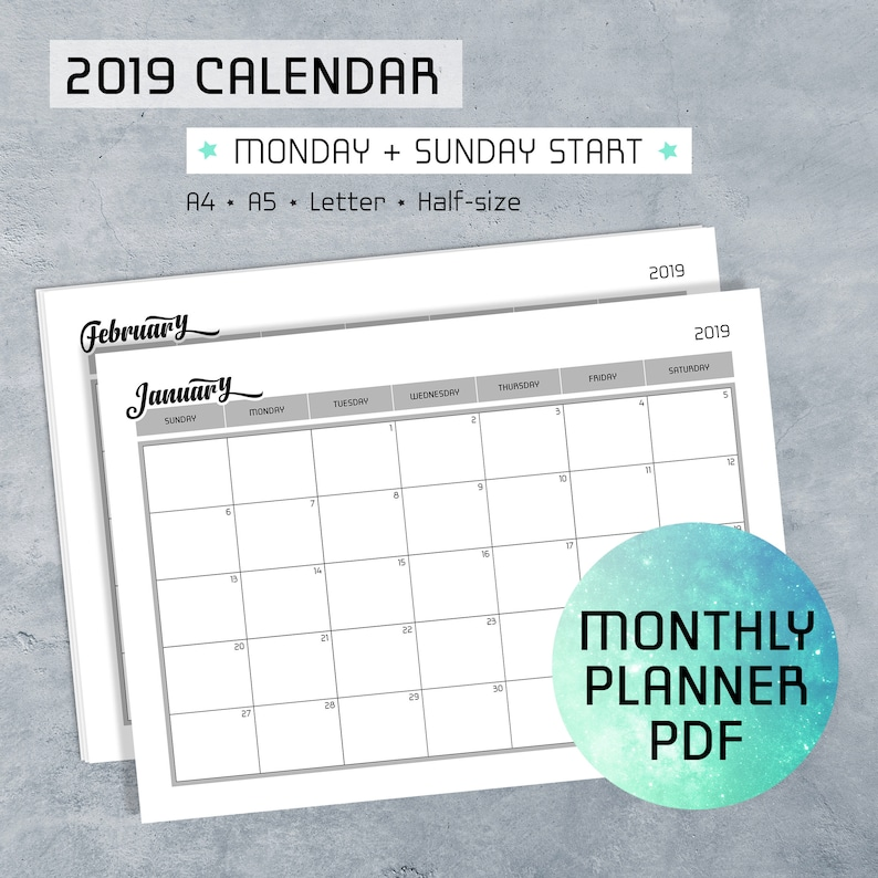 image relating to Planner Pdf titled Month to month Planner Printable PDF Notes, 2019 Calendar, Monday Sunday Commence, Program Template, Log Internet pages, A4, A5, Letter, 50 percent-dimensions