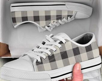 0ffdc1d7f80b Buffalo Plaid Sneakers Low Top Sneakers Buffalo Check Sneakers Black White  Shoes Custom Sneakers Custom Design Shoes Lace Up Sneaker Kicks