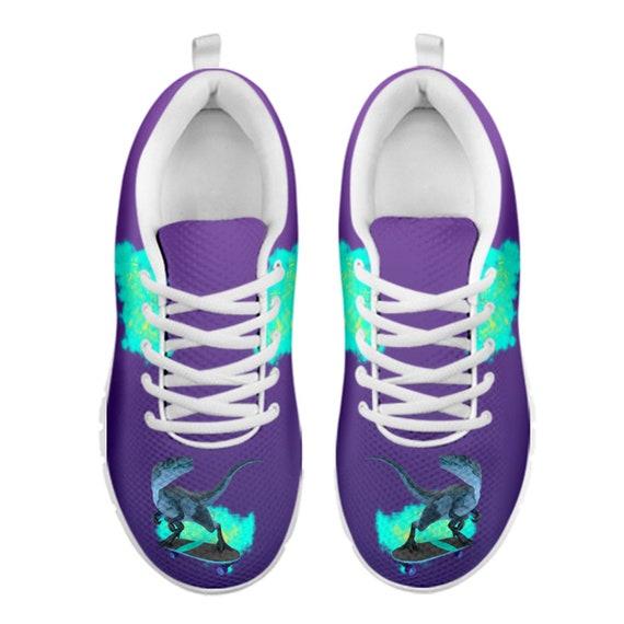 KIds zapatos de dinosaurio zapatillas t rex personalizadas zapatos morados zapatillas únicas para niños Skateboard dinosaurio tema Dino