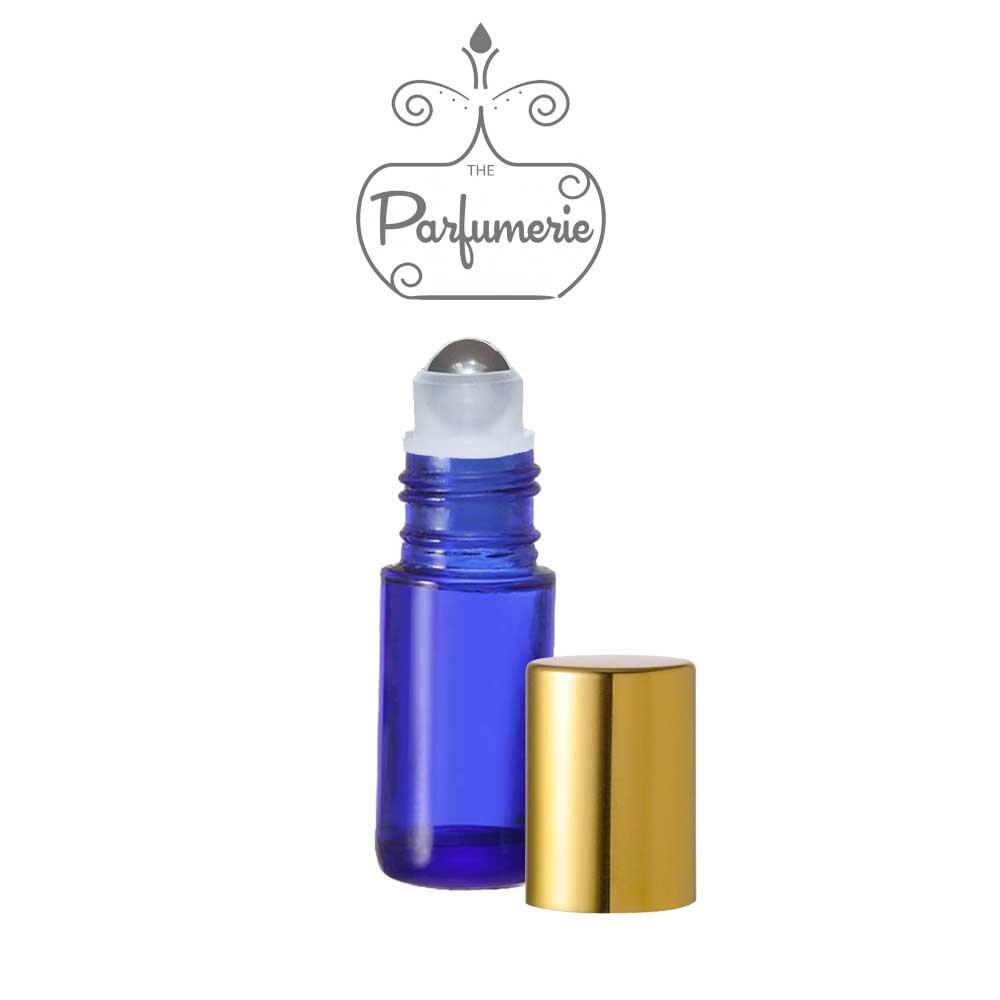 12 Pack Rollon Bottles Blue METALLIC Gold/Silver Cap 5ML