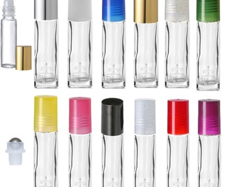 1/3 oz 10ml Glass ROLLER Bottles Clear Rollon Essential Oil Blends Stainless or Plastic Choose Cap Color Insert 6 Pack refillable FREE SHIP