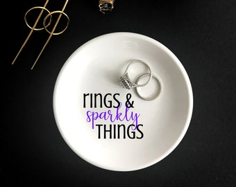 Personalized Ring Dish, Sparkly Things Ring Dish, Shiny Things Ring Dish, Custom Ring Dish, Engagement Gift, Round Ring Dish
