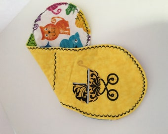 Yellow Flannel Baby Carriage Burp Pad girl, boy, shower gift
