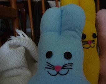 Blue Plush Marshmallow Bunny Felt Stuffed Animal Toy