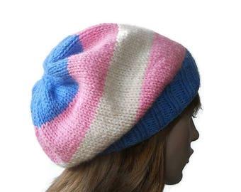 Transgender Pride Hat Trans Pride Beanie Slouchy Lgbt Accessories Handmade Hat Hand Knit Trans Pride Wear Lgbt Gift Trans Knitwear