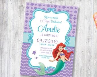 Little Mermaid Invitation Party Printable Girls Invitebirthday Invite Personalized CANDY 020