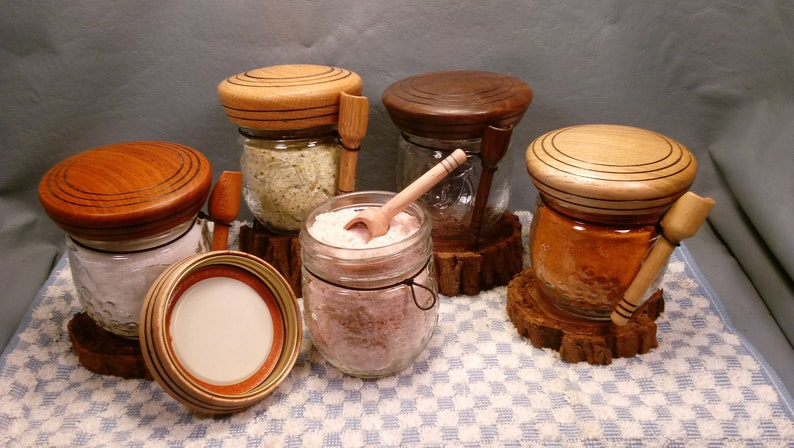 Salt Jars with Handmade wooden lids and scoops