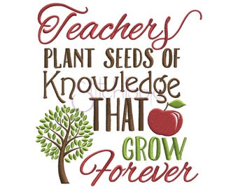 Teachers Plant Seeds Machine Embroidery Digitized Design Pattern