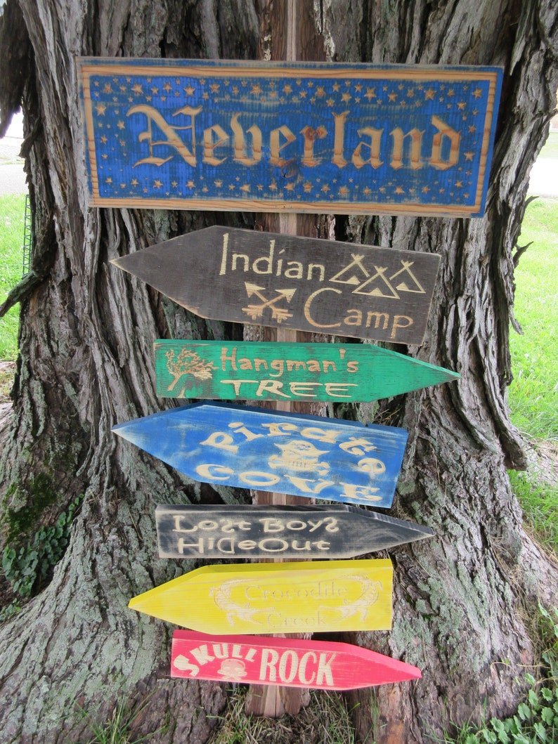 Neverland Peter Pan Map Locations Arrow Sign Wall Art image 0
