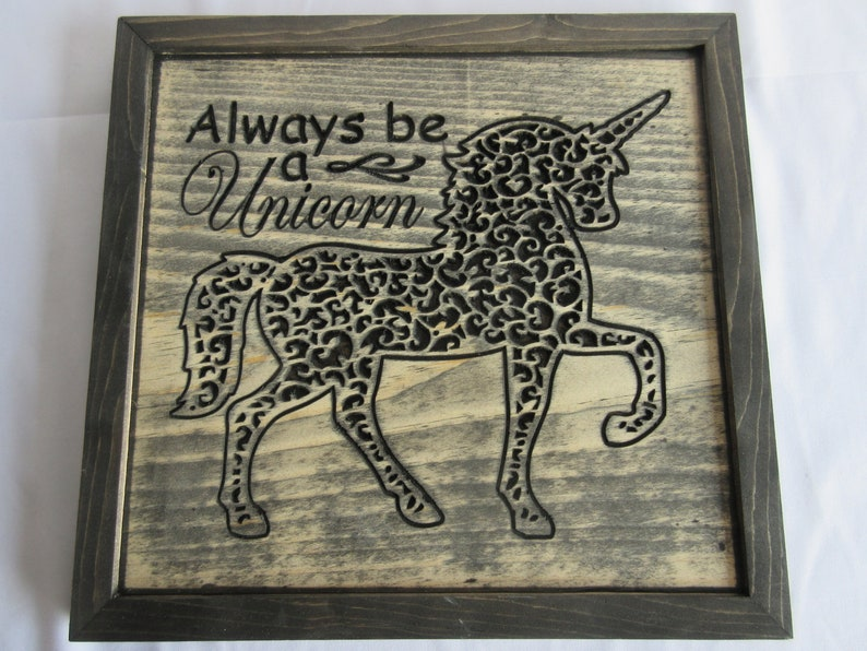 100% Handmade Hardwood Unicorn Theme Wall Art Sign image 0