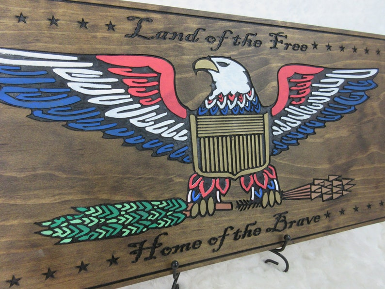 Patriotic American Americana USA Bald Eagle Wall Sign Art image 0