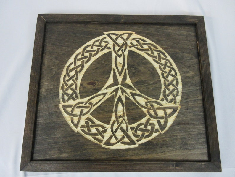 Handmade Hardwood Peace Sign Framed Wall Art Sign image 0