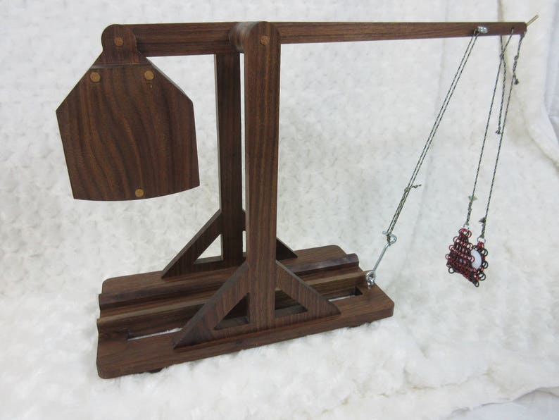 Desktop / Tabletop Solid Walnut Fully Functional Trebuchet Do image 0