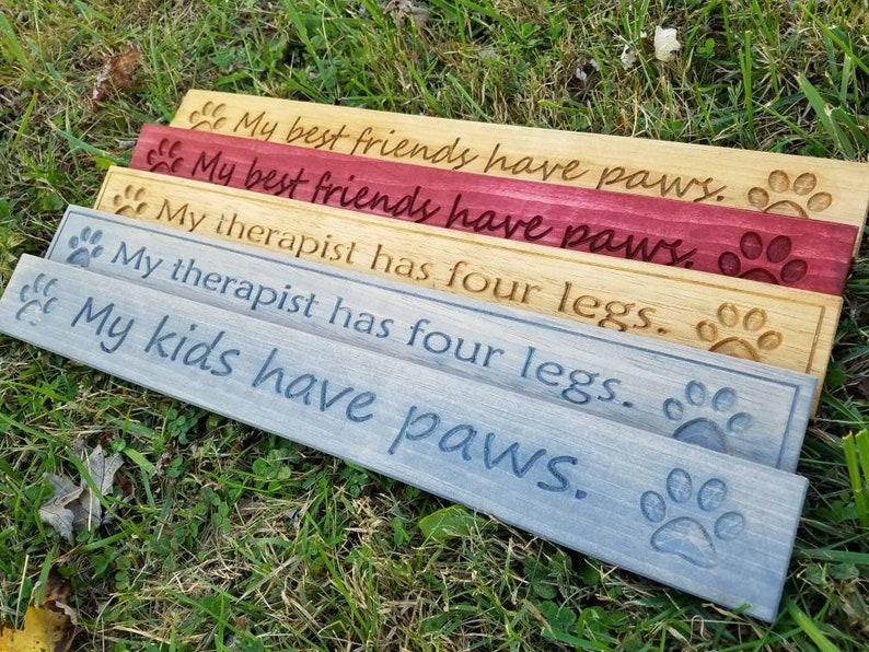 Animal Lovers Paws Carved Sign image 0