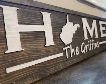 West Virginia WV State Home Theme Personalized Custom Wooden Wall Art Sign Décor Made in West Virginia, USA