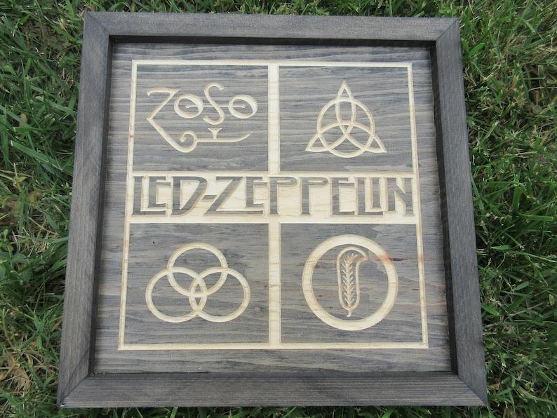 Handmade Hardwood Led Zeppelin Zoso Wall Art Sign Plaque image 0