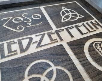 Handmade Hardwood Led Zeppelin Zoso Wall Art Sign Plaque