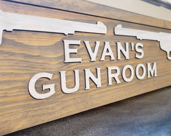 Weaponry Gun Revolver Theme Custom Personalized Wall Art Sign Decor Made in West Virginia, USA