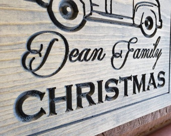 """Christmas Xmas """"Little Red Truck"""" with Tree Decoration Personalized Any Name Any Color Custom Wall Art Sign Décor Made in West Virginia, USA"""