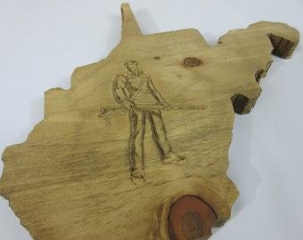 Custom Personalized Handmade Hardwood West Virginia WV WVU State Shaped Wall Art Sign
