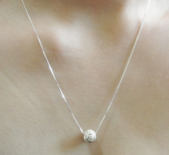 Made in USA 18 Italian Box Chain Sterling Silver CONCH SHELL 3D Pendant