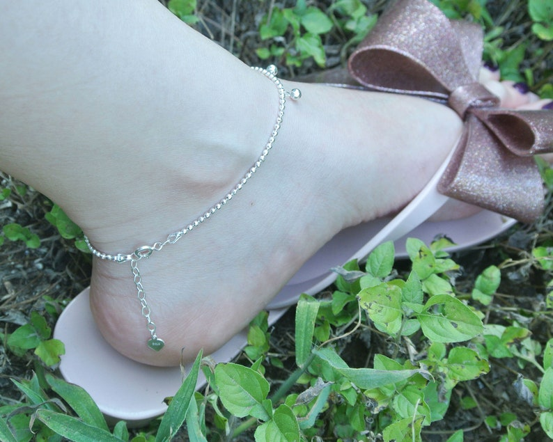 925 sterling silver ball charms dazzling ankle bracelet women ball charms anklet