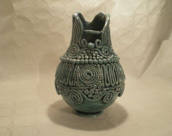 Columbine fancy turquoise ceramic vase