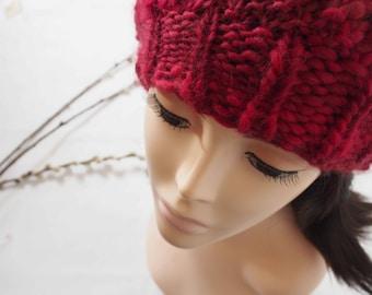 9ca10662940 Red wool hat   slouchy beanie hat for women   Woollen hats   Handmade hats    Handknit beret   Gift for women   Teenage girl