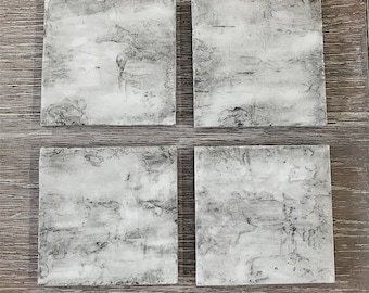 Handmade Birch Bark Texture Coasters with smooth Resin coating