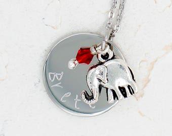 Elephant Necklace, Personalized Elephant Jewelry, Little Girl Necklace, elephant gift, elephant lover, Personalized elephant necklace