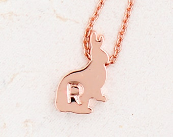 Bunny Necklace, Rabbit Necklace, Bunny Rabbit Necklace, Rose Gold Necklace, Initial Bunny Necklace, Personalized Necklace, Initial Necklace