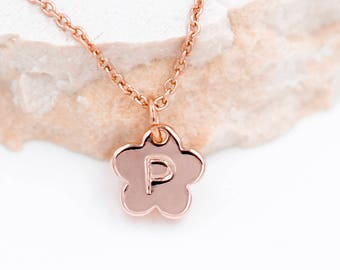 Flower Girl Necklace, Little Girl Necklace, Flower Girl gift,Minimal flower Necklace, Rose Gold Necklace, Personalized Jewelry, Junior Gift