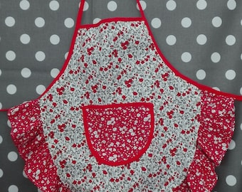 Child apron with ruffle liberty grey/red 3-4 years