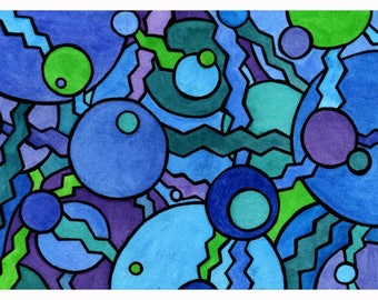 Notecard abstract bubbles